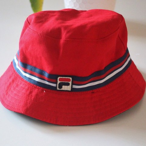 b076413e78a42 Red fila bucket hat Fila Bucket hats One size fits Tags - Depop
