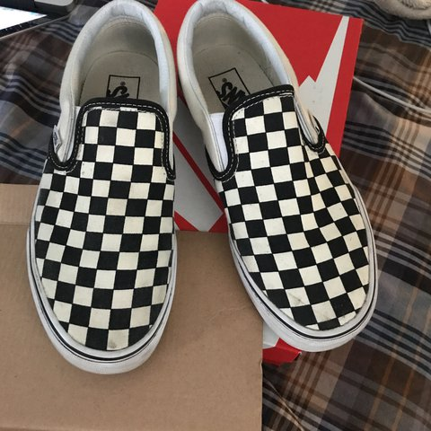 044db6528b Checkerboard slip on vans. Good conditions a little cleaning - Depop