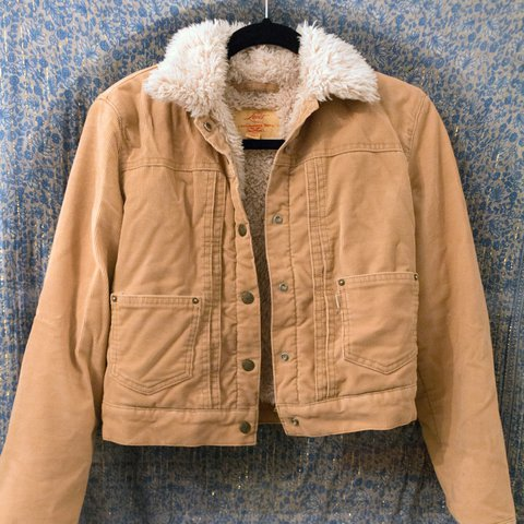 A Lovely Tan Corduroy And Faux Shearling Cropped Jacket For Depop