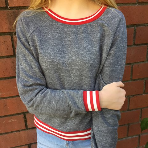 fea6a9dbd13 Forever 21 grey crew neck with red and white  crewneck  grey - Depop