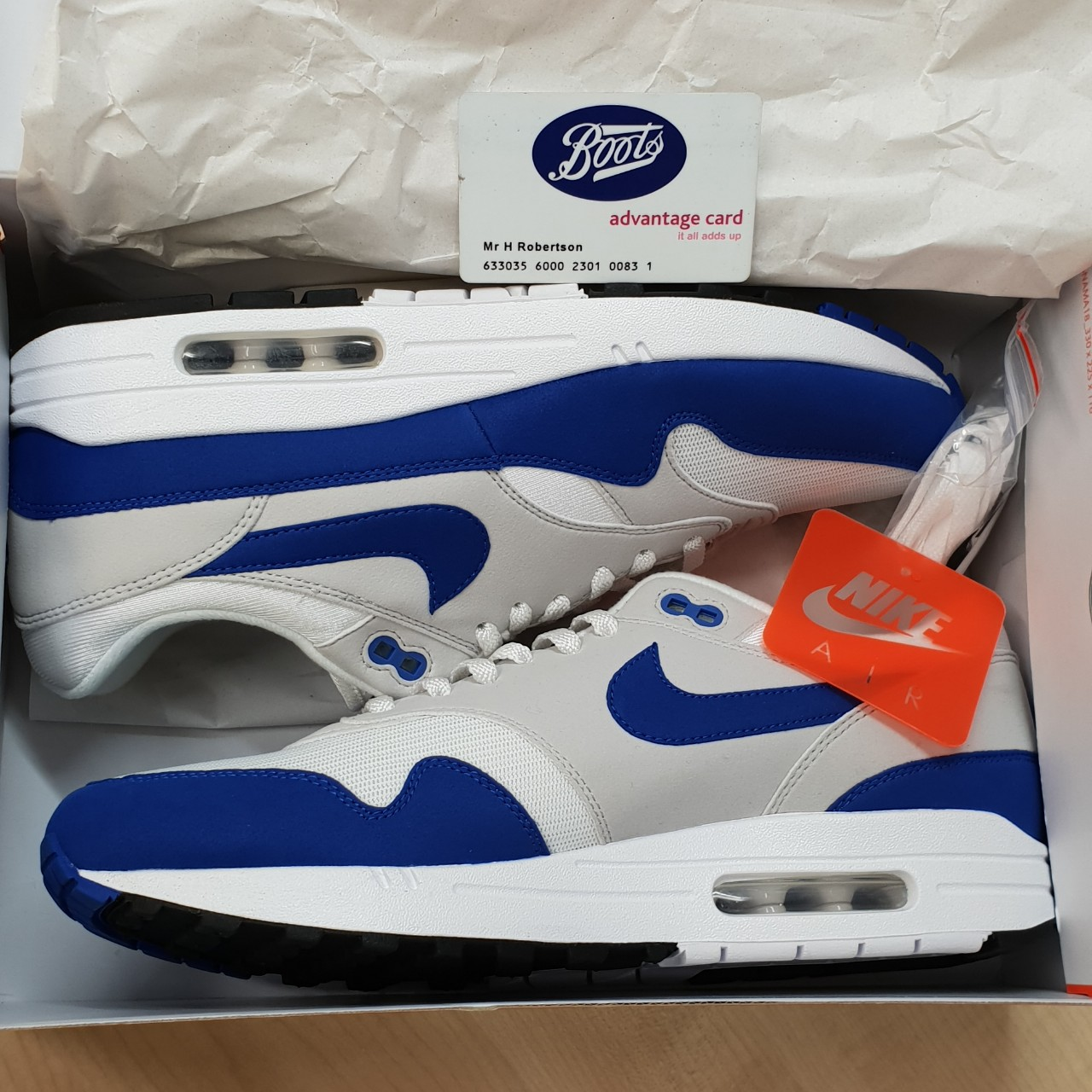 AIR MAX 1 ANNIVERSARY, ROYAL. shoes are DS but hand