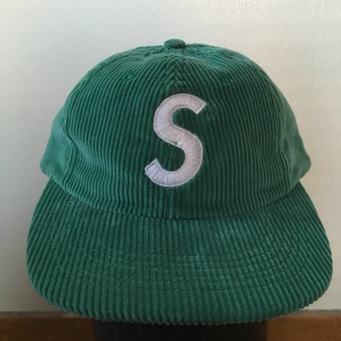 8bcc0384c3d Green corduroy S Logo Supreme 6 panel hat with leather worn - Depop