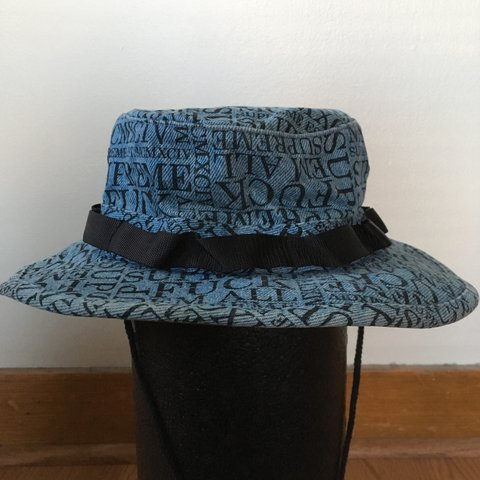 ... where to buy blue denim supreme fuck em all boonie hat from supreme  worn depop 5a2a7 1a894bc90fda