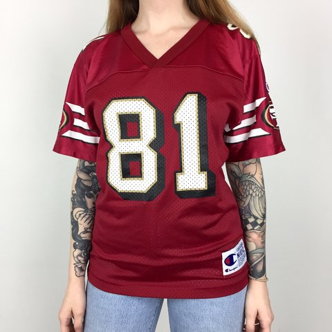 d2cbd3aee @batcityvintage. 27 days ago. McDonough, United States. 🔥🏈 Vintage 90s  Champion NFL San Francisco 49ers Forty Niners Terrell Owens #81 red  football jersey
