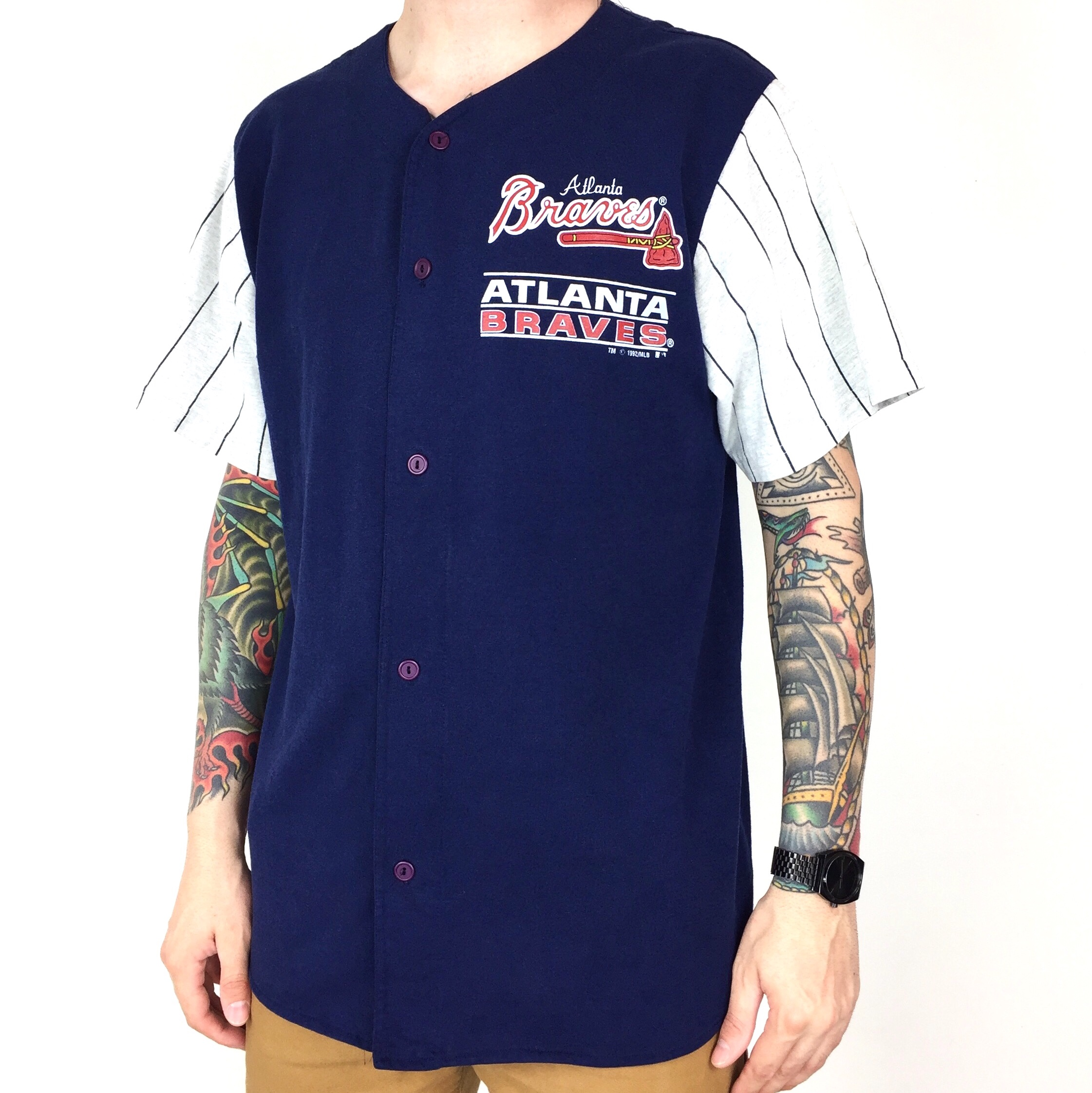 cheap for discount caca4 52aea Vintage 90s 1992 92 MLB Atlanta Braves Competitor... - Depop