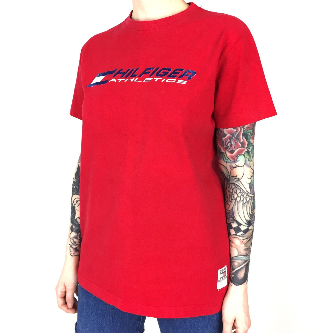 1ac76563 @batcityvintage. 22 hours ago. McDonough, United States. 🔥 Women's Vintage  90s Tommy Hilfiger Athletics flag logo red graphic tee ...