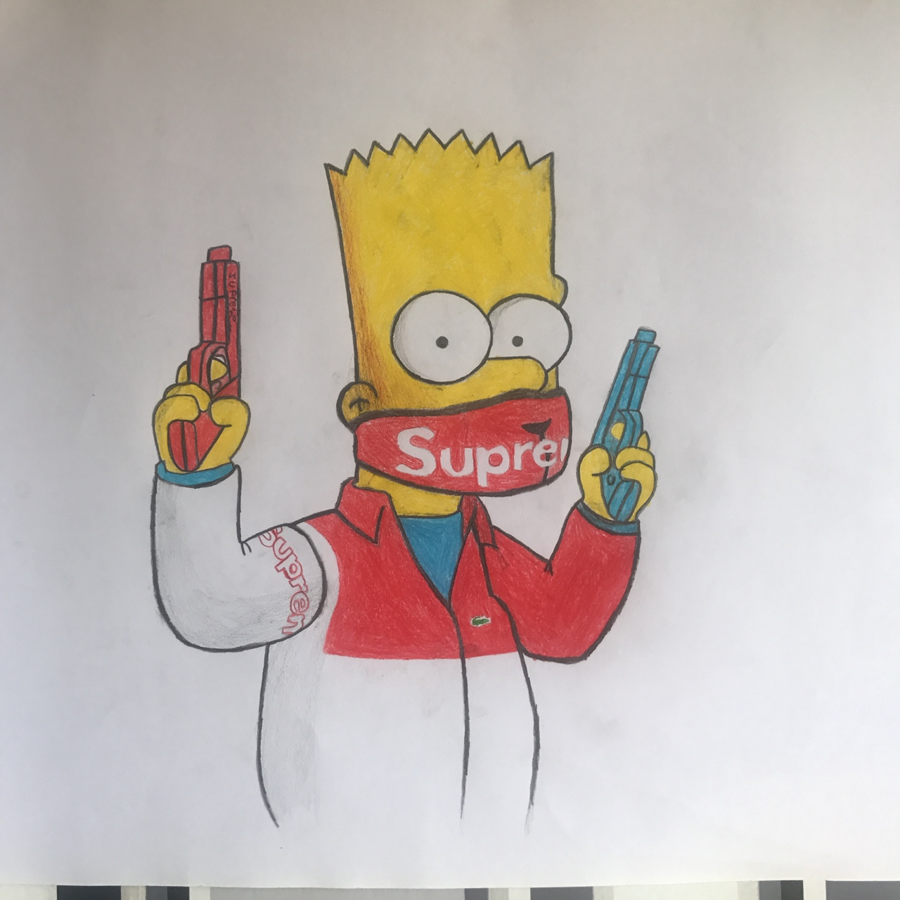 A2 Bart Supreme X Lacoste Drawing Poster Depop