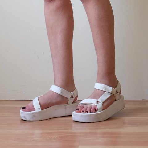 d7e659f689a get yourself some white flatform Teva sandals ~ wear alone - Depop