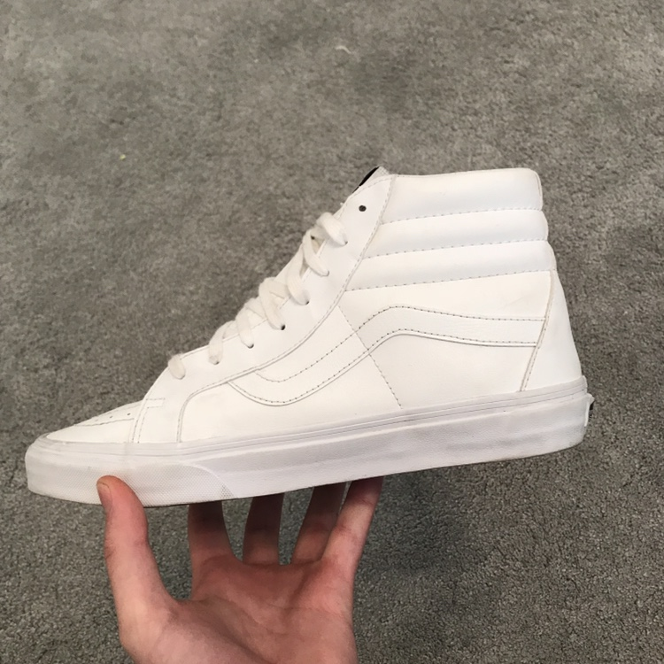 White leather High Top Vans Size UK 9