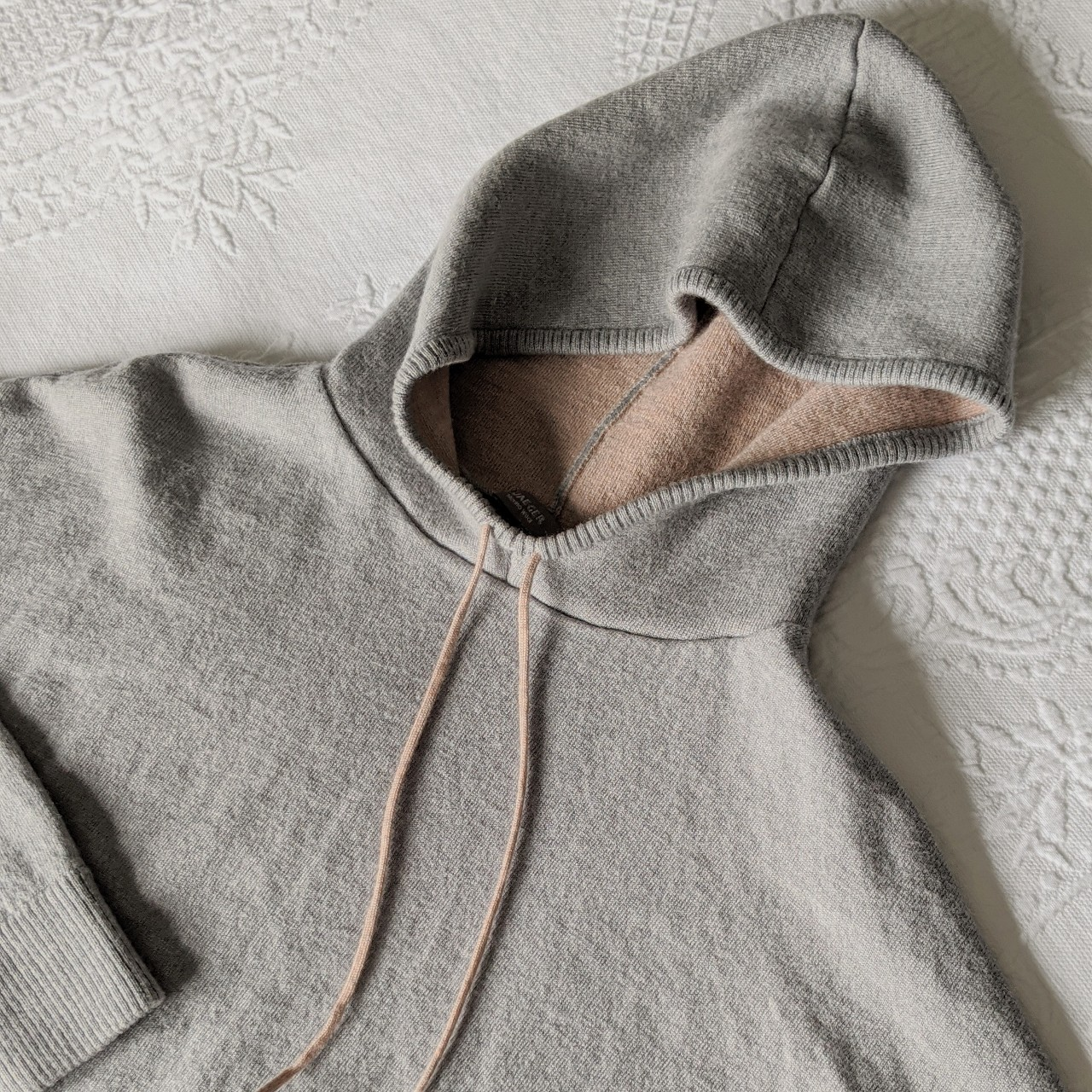 Jaeger Merino Wool Hooded Sweater Grey With Soft Depop