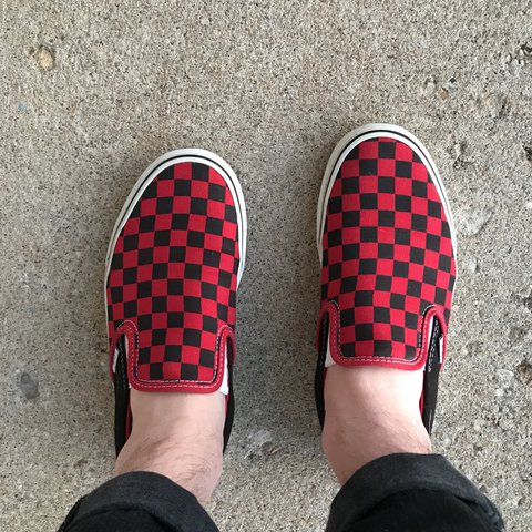 ff09a831c79b59 Red and black checkered vans. Canvas is in really good and - Depop