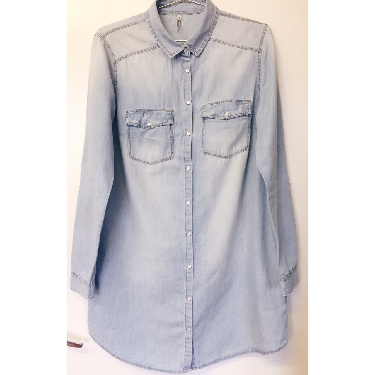 e9581b86c5 STRADIVARIUS pale blue jean shirt. Can be worn as an top. - Depop