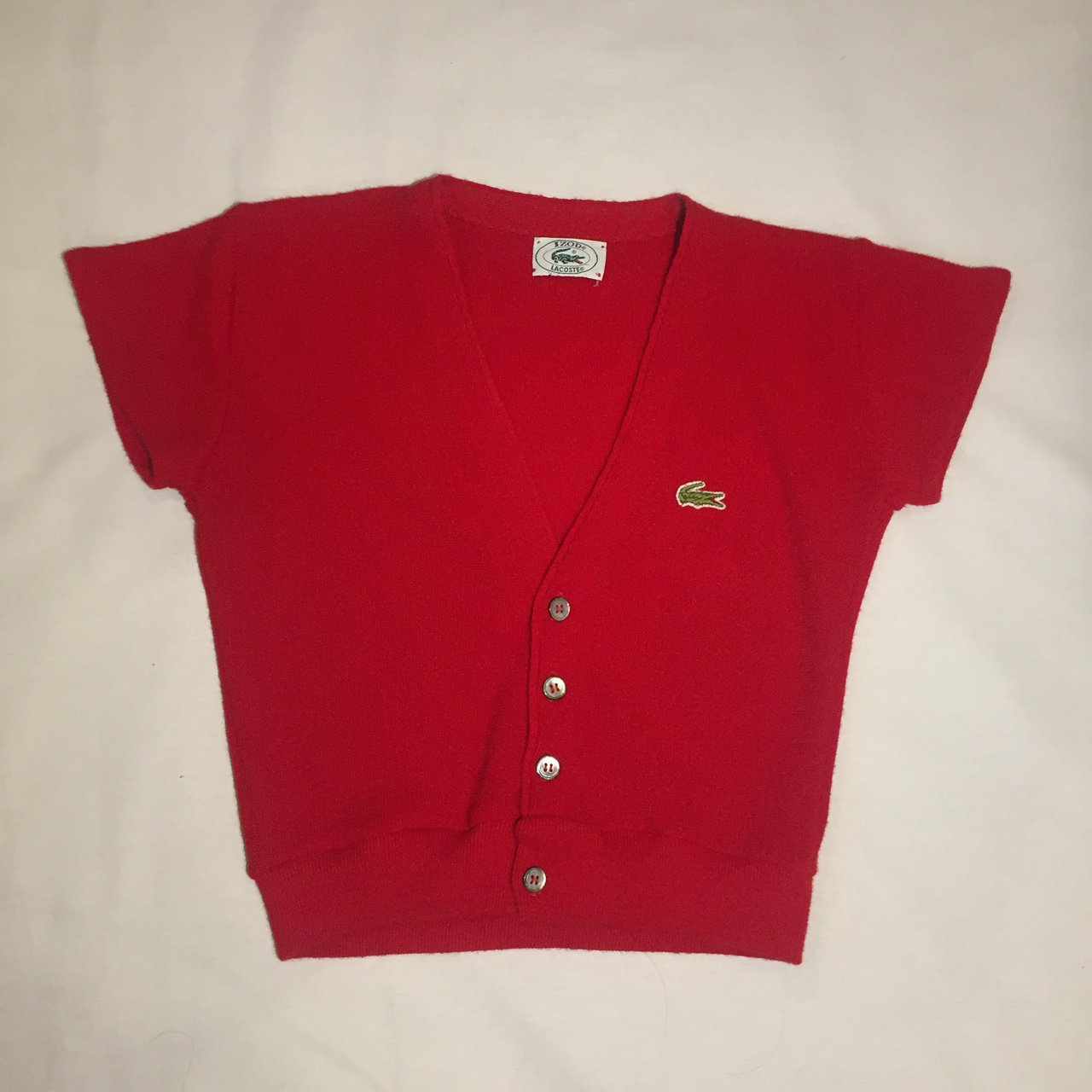 6890fb520f VINTAGE rare Lacoste red short sleeve cropped sweater with a - Depop