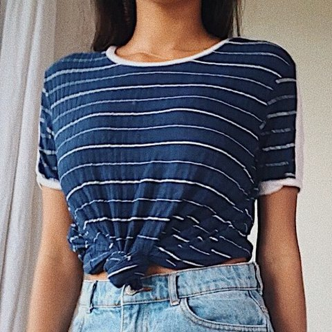 1dab4b33ed0c vintage style navy blue and white ribbed striped t shirt. an - Depop