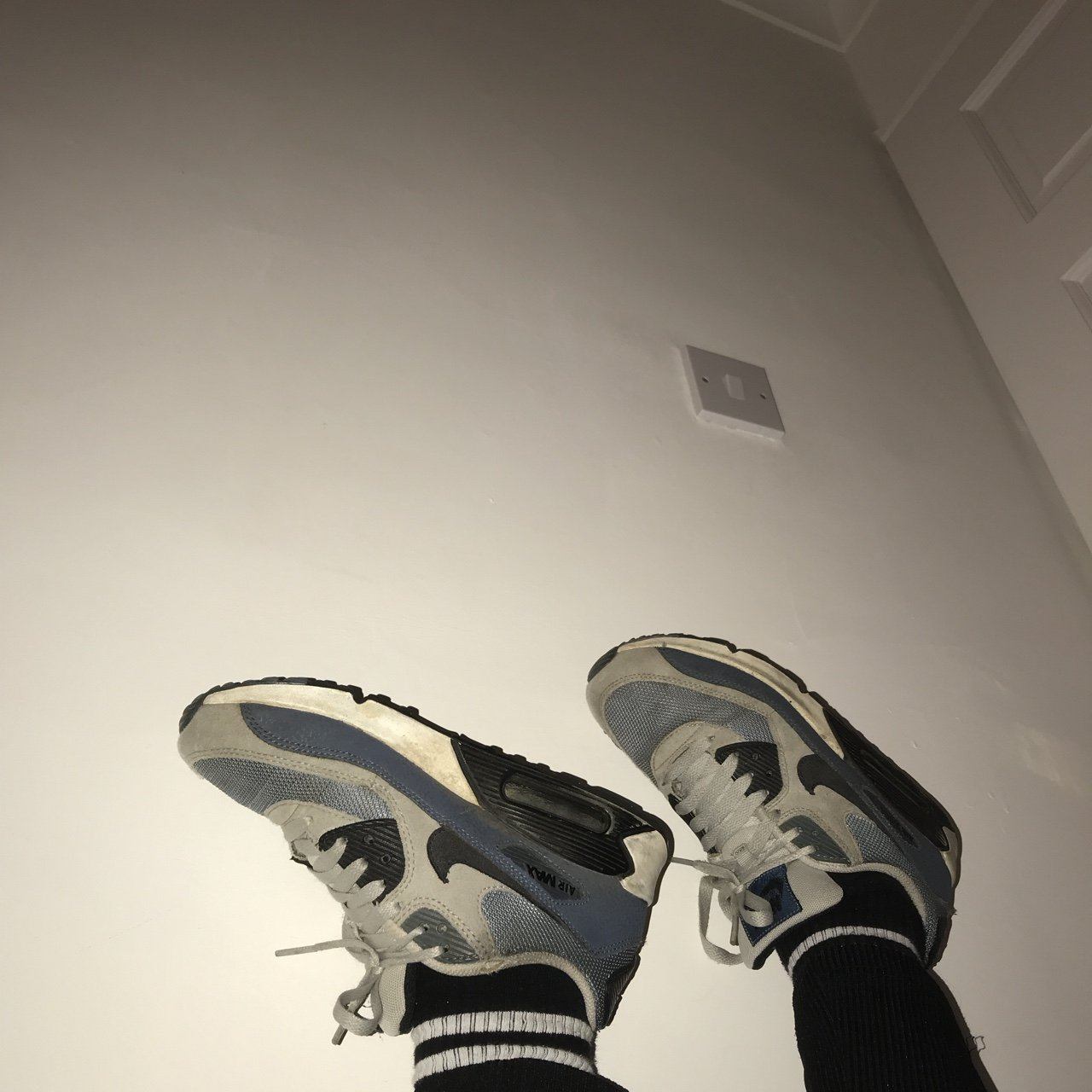 blue grey and black nike air max. size 5.5 but can fit up to - Depop 0bf2ebad7