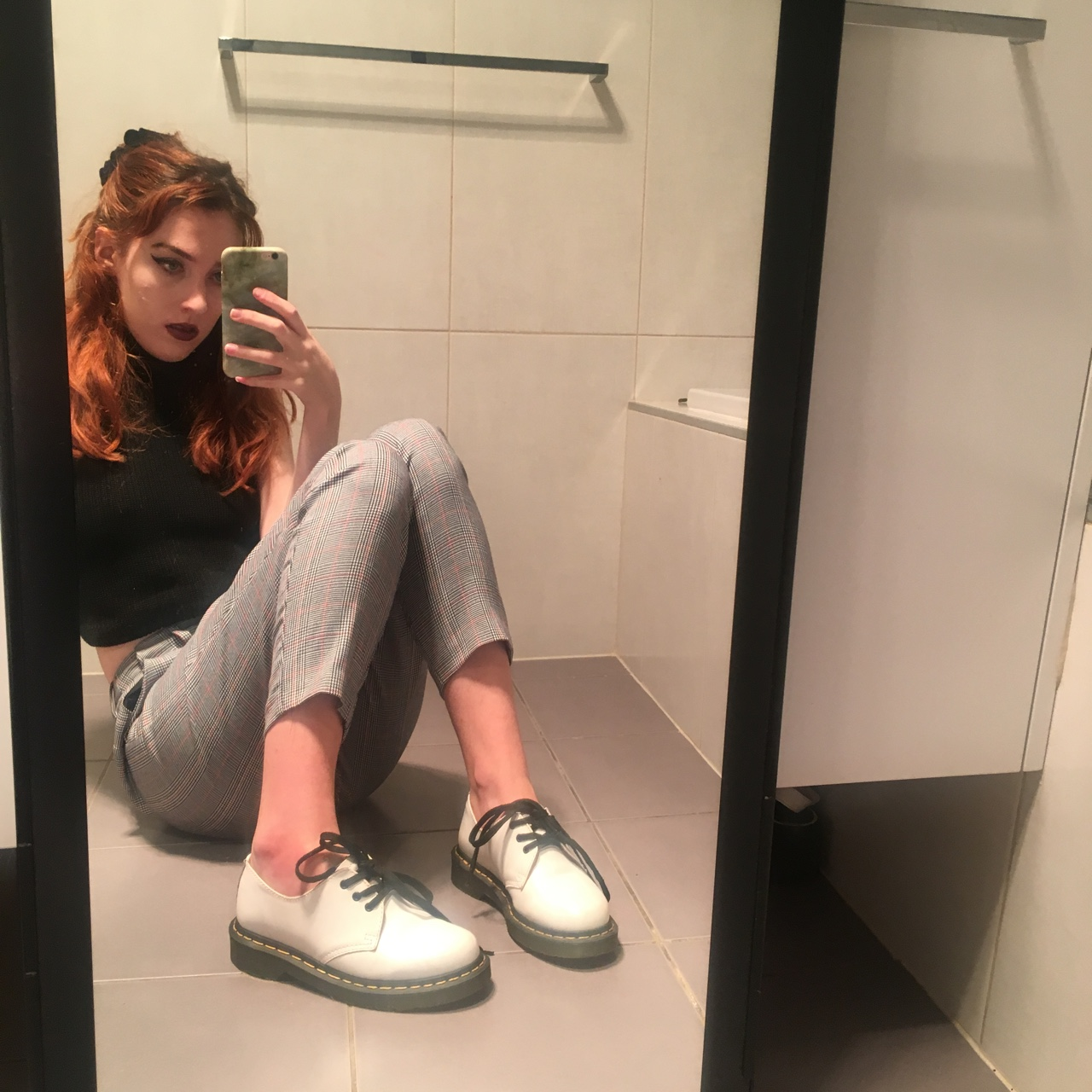 White low top Dr Marten style shoes