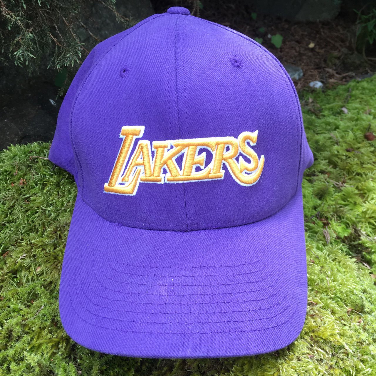 b6771c25bbe Nike Los Angeles Lakers Flex Fit Hat in Good mostly clean is - Depop