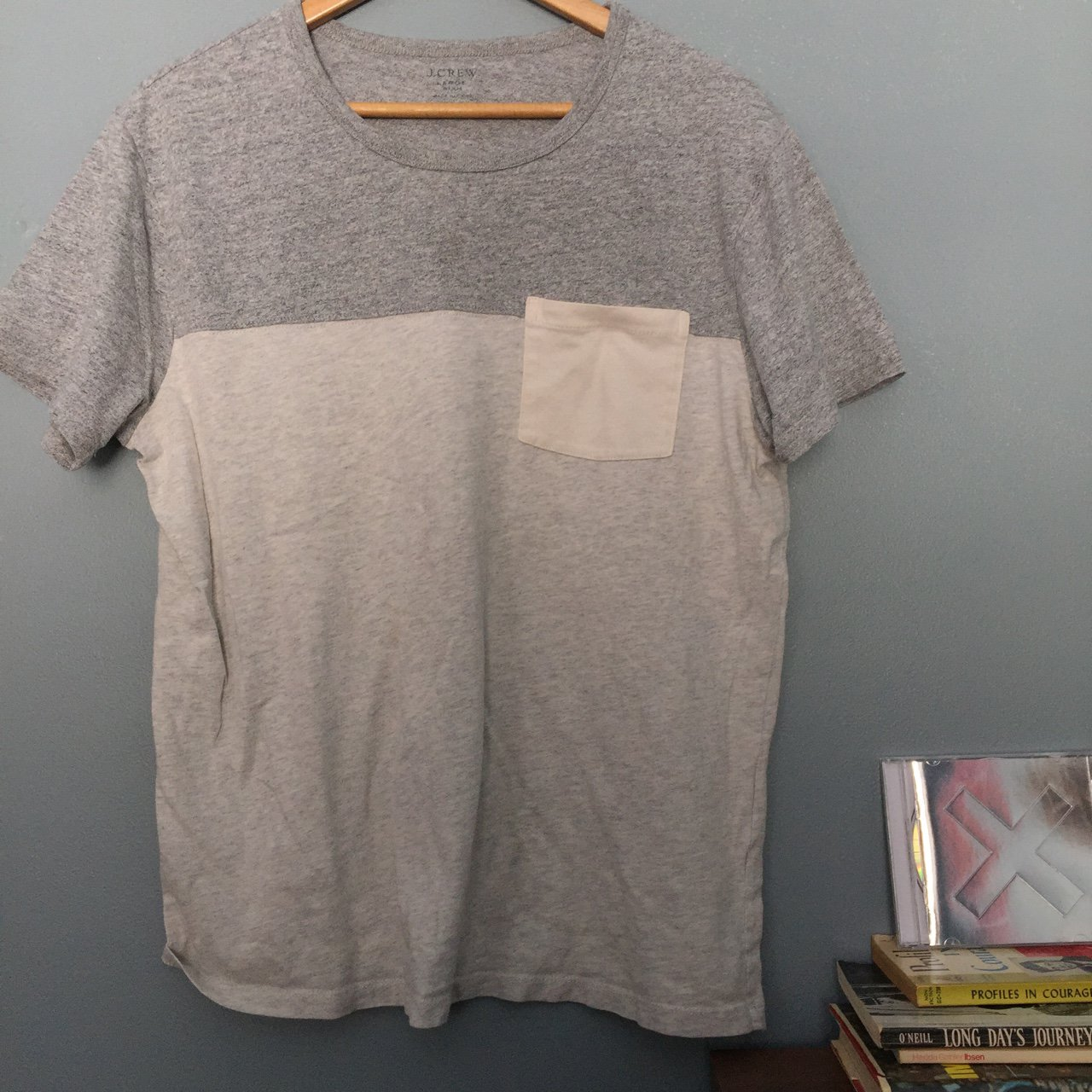 eaebfc33a57 Heather grey color blocked j.crew