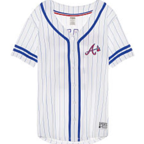 a9b1fb2ff ISO Xs or small Victoria secret MLB braves jersey Willing - Depop