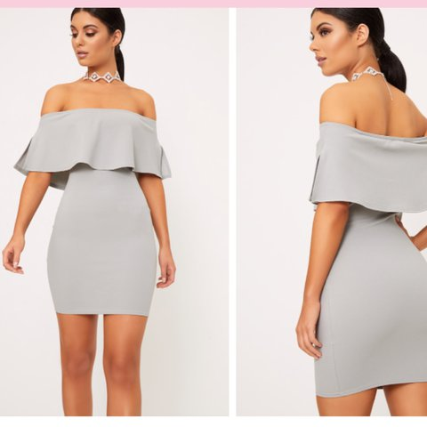 c7f361fb5fd74 Pretty Little Thing Dove Grey Bardot Frill Bodycon Only worn - Depop
