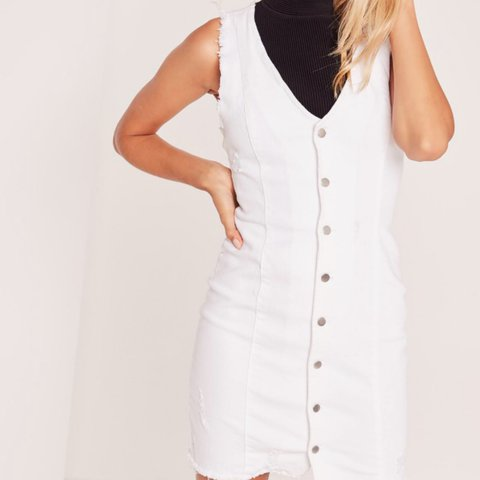 64bf8234e2 White missguided denim dress. Size 8. Worn once. Perfect for - Depop
