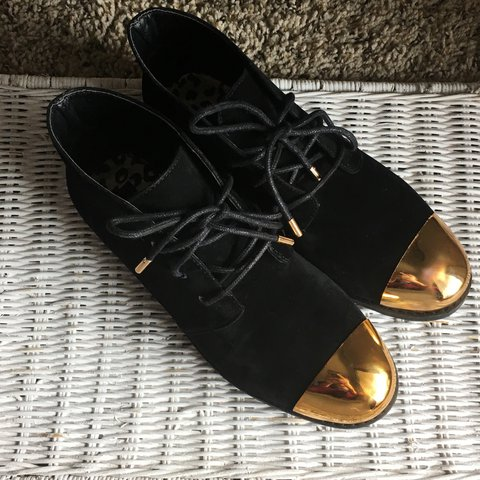 bf8d14e90b Cute Dollhouse shoes. All black with the gold tip and ends. - Depop