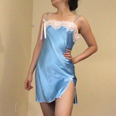 Angel blue silky victoria s secret slip dress 😇 with white - Depop dd928603f