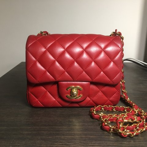 662dc62e8fbc @evelyn1021. 10 months ago. Paris, France. Chanel Classic Flap Square Mini  in true red lambskin Leather