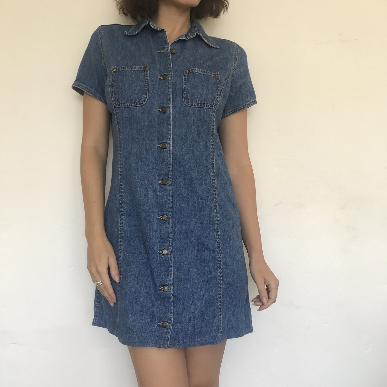 d37f0f48518 Cutest 90s denim dress. Button down front with collared Such - Depop