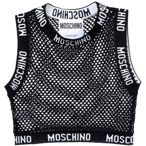 98c9f4c422cf4b Black mesh Moschino crop top sold out everywhere as seen on - Depop