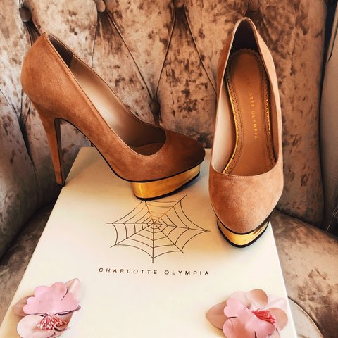 6e10a9687704 Charlotte Olympia Dolly Shoes in tan suede with signature on - Depop
