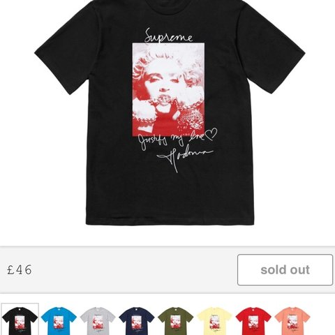 aa685a4a7 @palace691. 9 months ago. Daventry, United Kingdom. Supreme Madonna t shirt  black size medium most hyped item ...