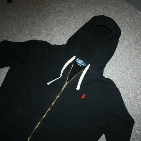 a77478f7c Vtg POLO ralph lauren black zip up hoodie with red pony