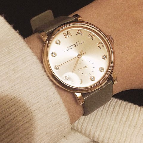 Marc By Marc Jacobs Baker Rose Gold Leather Watch Great A Depop