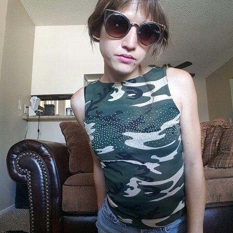 0f8ba02369a45 Semi-sheer #Y2k #vintage #Forever21 #camo tank top with a a - Depop