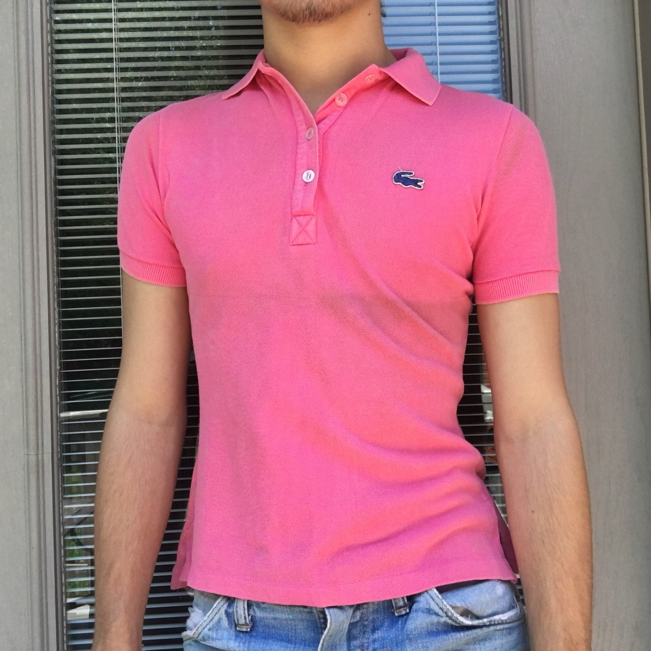 29b5b2029 Vintage Lacoste polo top in flamingo pink with embroidered a - Depop