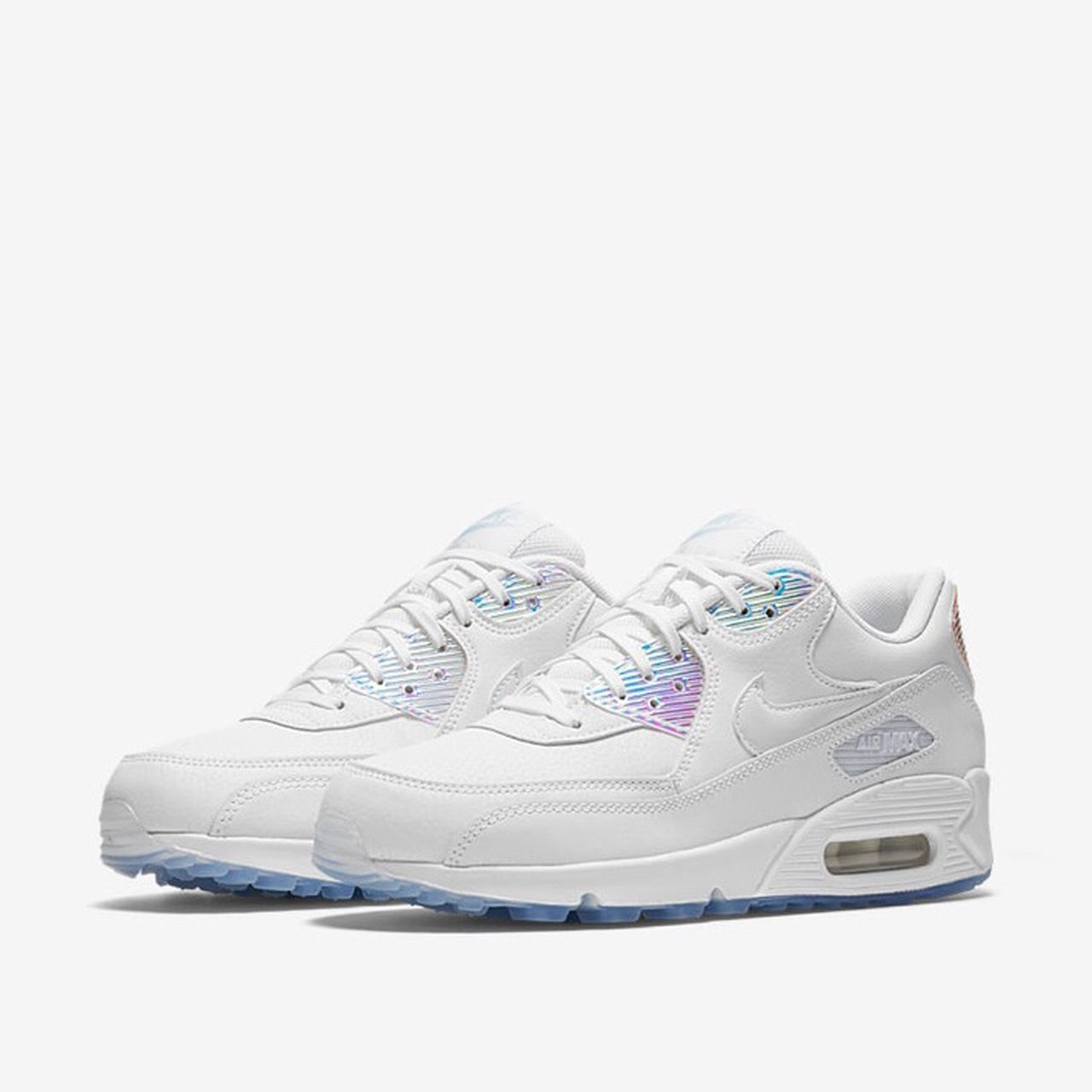 Women s Nike Air Max 90 Summer Shine. All white leather with - Depop 5ceb3dcf7