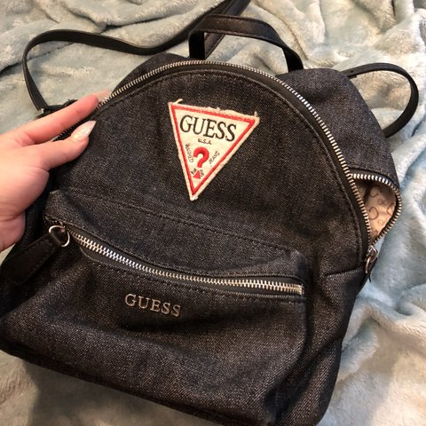 7b48799bee66 Guess denim mini backpack. Faux leather straps. Perfect for - Depop