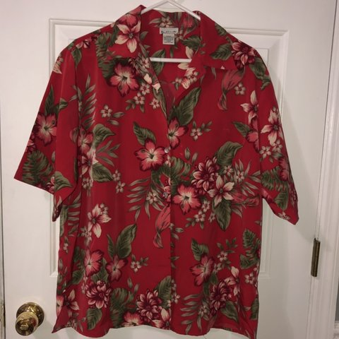 6f6e2c1b @josiethompson24. in 5 hours. Gainesville, United States. Super cool 90's Red  Hawaiian button down floral shirt.