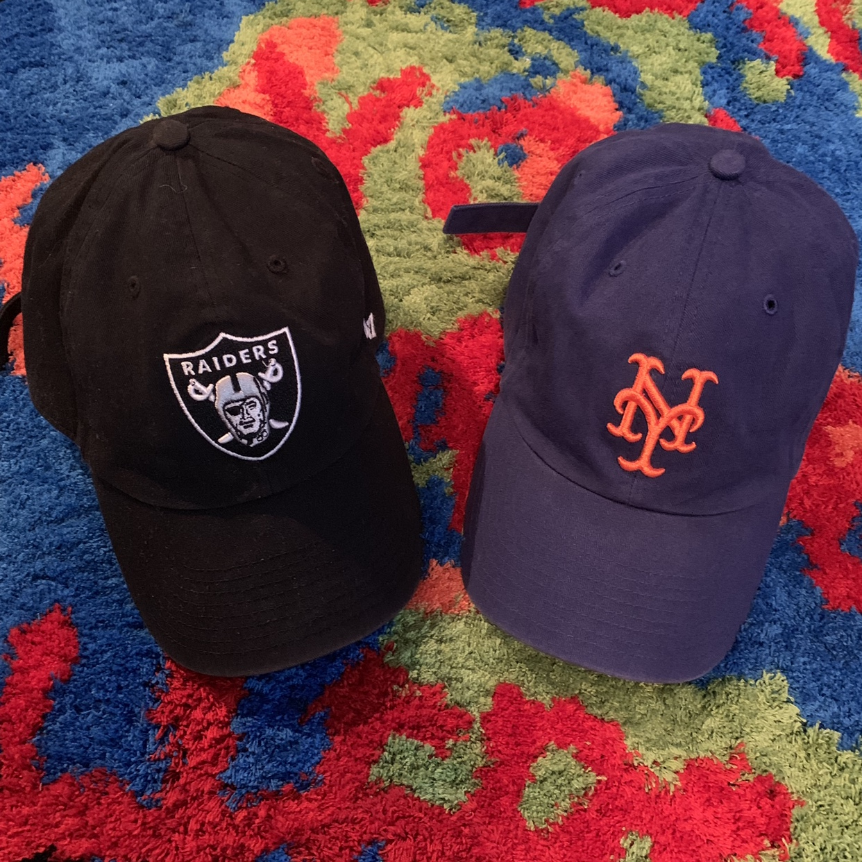 New York Mets and Oakland Raiders 47 Brand Dad hats