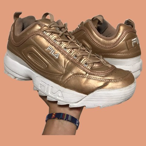 0a477773ef03 only pair this size on depop   Rose Gold Fila Disruptors. - Depop