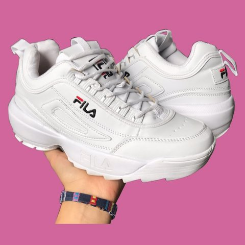 6be07761e White Fila Disruptors Trainers Chunky af dad sneakers, very - Depop
