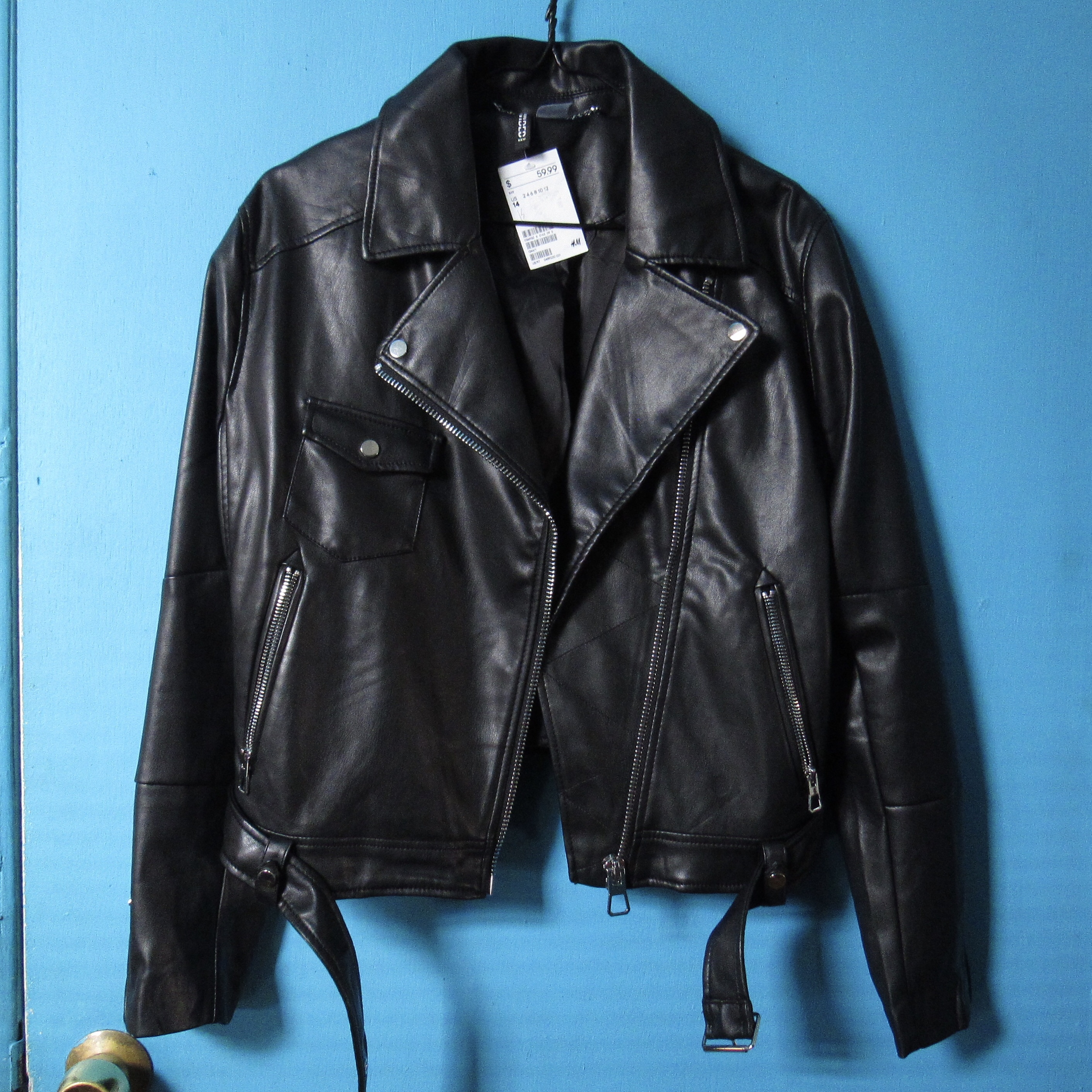 save off superior quality huge discount H&M Faux Leather Deluxe Biker Jacket • Size 14 (XL)... - Depop