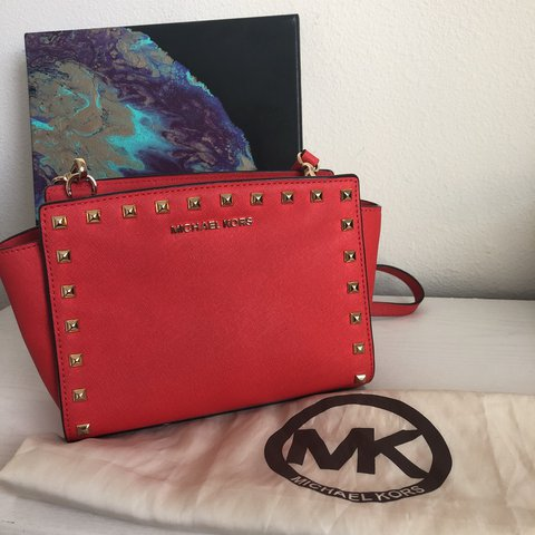 9ed899f6bc89 ... authentic beautiful cherry red michael kors mk studded crossbody bag  depop eef0d 0ce20