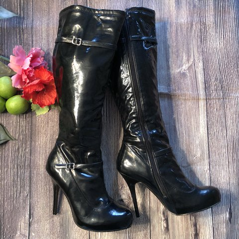 749d6c0279e Sexy black patent   wet look faux leather knee high boots by - Depop