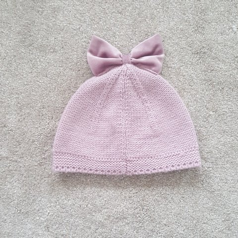 c7c13f83a70 Baby girl next hat in dusky pink with velvet bow on top. a - Depop