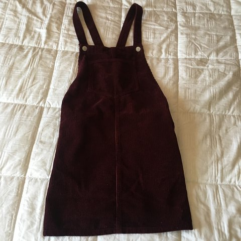 a6e00fc50c9 TOPSHOP PINAFORE CORDUROY DRESS. Burgundy. Size 4 in great - Depop