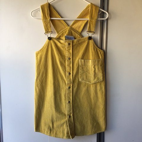 d928fc1d70e VINTAGE YELLOW CORDUROY OVERALL DRESS. Size small. 29 inches - Depop