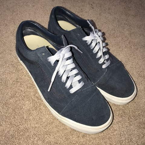 a1b527c6a3 Vans old skool. Navy blue w  grey laces. 9-10 condition. for - Depop