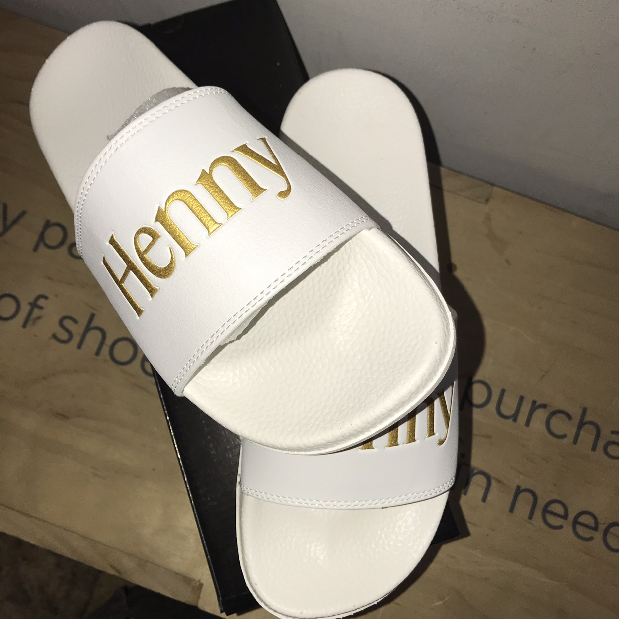 Henny (Hennessy) slides  From a Bay Area brand    - Depop